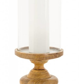 Natural Wooden Candlestick with Glass