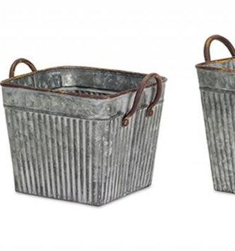 Ribbed Galvanized Planter (3 Sizes)