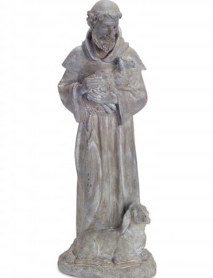 Standing Gray Saint Francis with Sheep