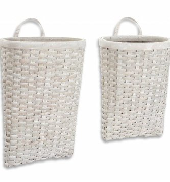 Hanging Gray Woven Wall Basket (2 Sizes)
