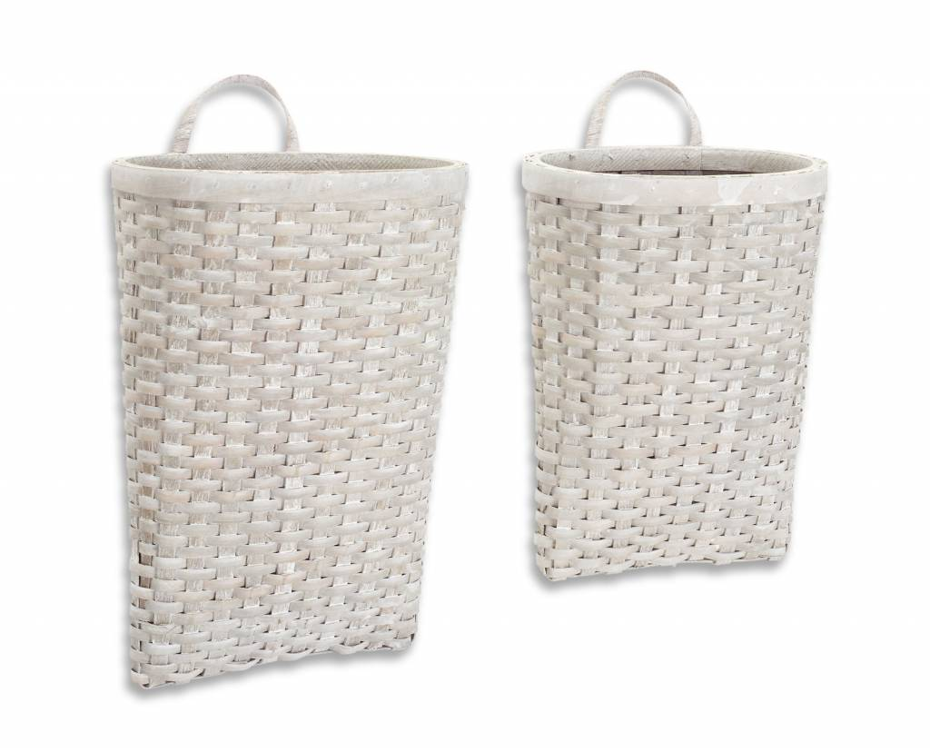 Hanging Gray Woven Wall Basket