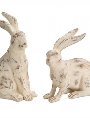 Set of 2 Large Antiqued Bunnies