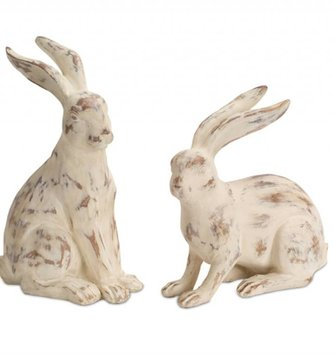 Set of 2 Large Antiqued Bunnies