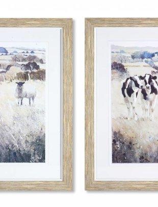 Gray Framed Farm Animal Print