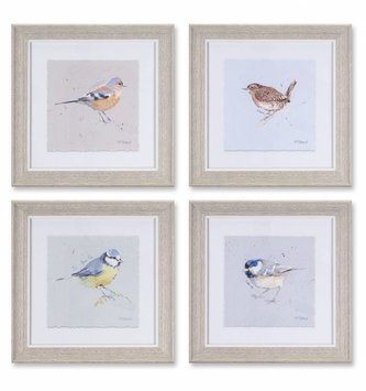 "10"" Square Framed Bird Print (4 Styles)"