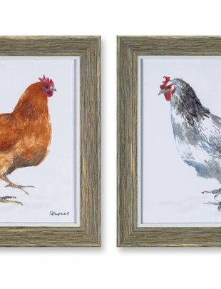"10"" Square Framed Chicken Print (2 Styles)"