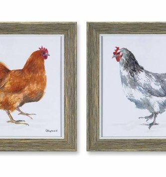 "10"" Square Framed Chicken Print (2 Styles)"