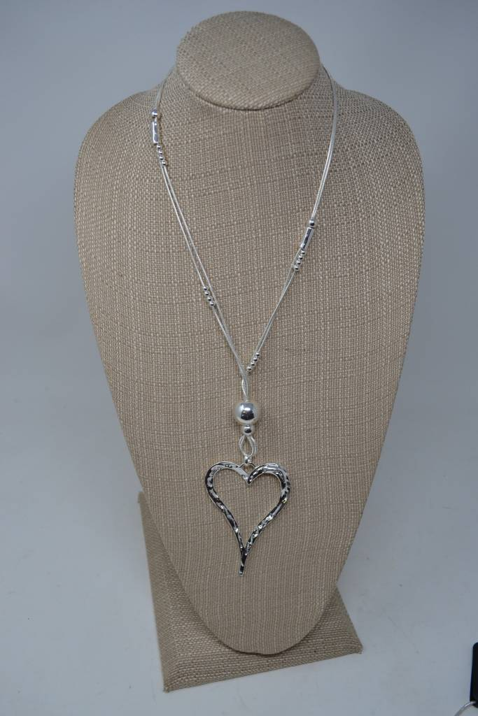 Silver Beaded Open Heart Necklace