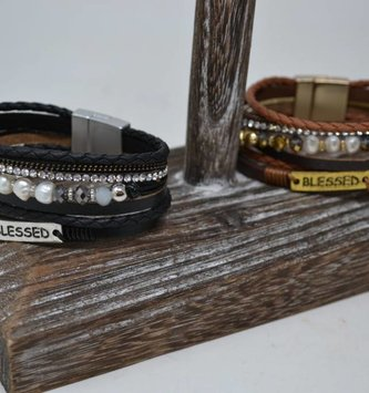 Multi Strand Blessed Leather Bracelet