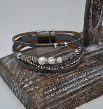 Gray Leather Multi Strand Bracelet