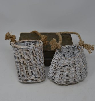 Whitewashed Willow Basket (2 Sizes)