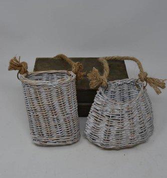 Whitewashed Willow Basket (2 Sizes)