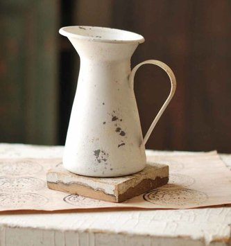 White Distressed Metal Pitcher