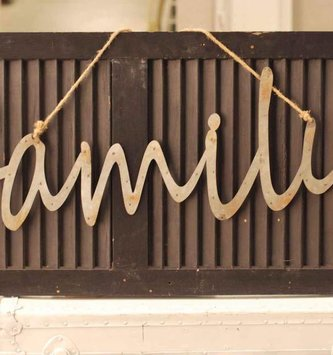 Family Hanging Galvanized Word Sign