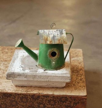 Green Rustic Watering Can Birdhouse