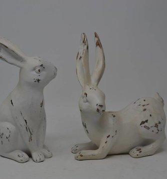 Set of 2 Medium Antiqued Bunnies