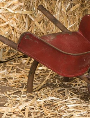 Antiqued Red Wheelbarrow