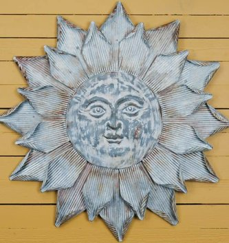 Large Galvanized Sun Face