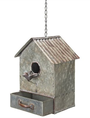 Hanging Galvanized Birdhouse w/ Drawer