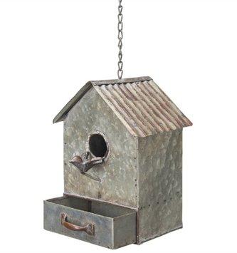 Hanging Galvanized Birdhouse with Drawer