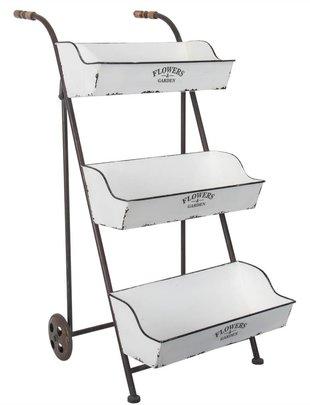 3 Tier Metal Flower Basket Cart