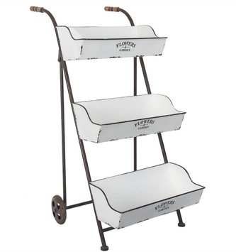 3 Tier Metal Flower Basket Cart