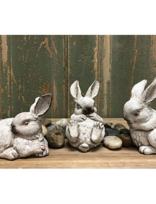 Set of 3 Playful Bunnies