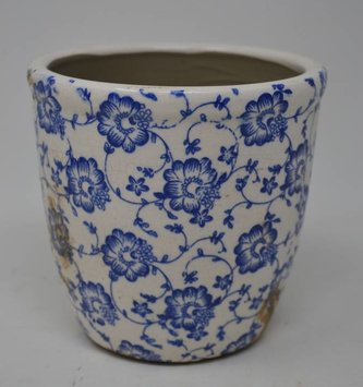 Floral Crackle Ceramic Pot
