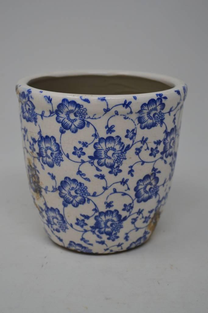 Floral Crackle Ceramic Pot