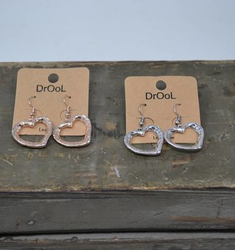 3D Silver Heart Earrings (2 Colors)