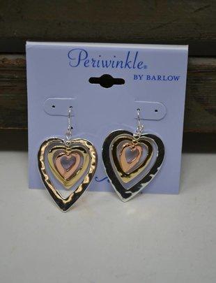 Tri Tone Heart Dangle Earrings