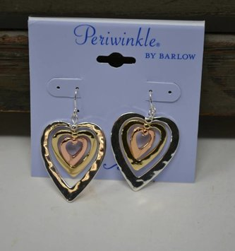 Tri Tone Heart Dangle Earrings