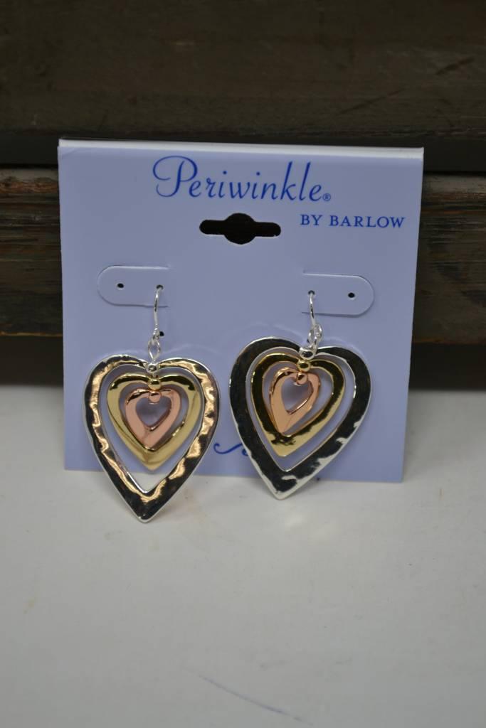 Tri-Tone Heart Dangle Earrings