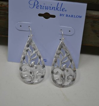 Matte Silver Filigree Teardrop Earrings