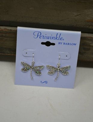 Silver Shimmer Dragonfly Dangle Earrings