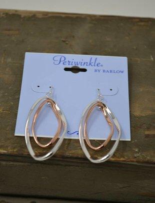 Silver & Rose Gold Twist Dangle Earrings
