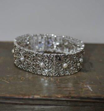 Vintage Silver & Pearl Stretch Bracelet