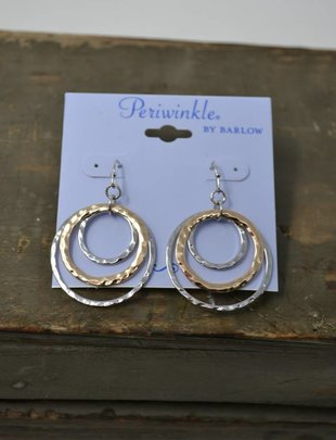 Two Tone Hammered Earrings