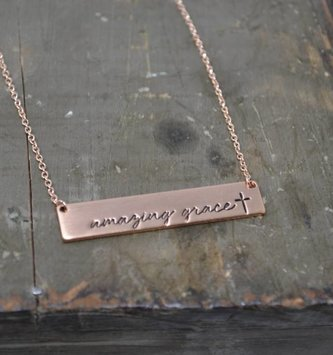 Rose Gold Amazing Grace Necklace