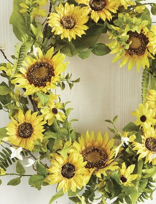"24"" Sunflower & Foliage Wreath"