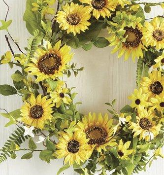 "24"" Sunflower & Foliage Wreath"
