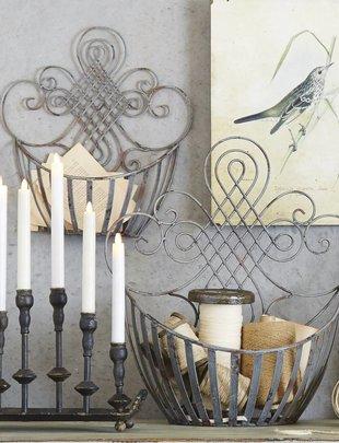 Distressed Gray Metal Wall Basket (2 Sizes)