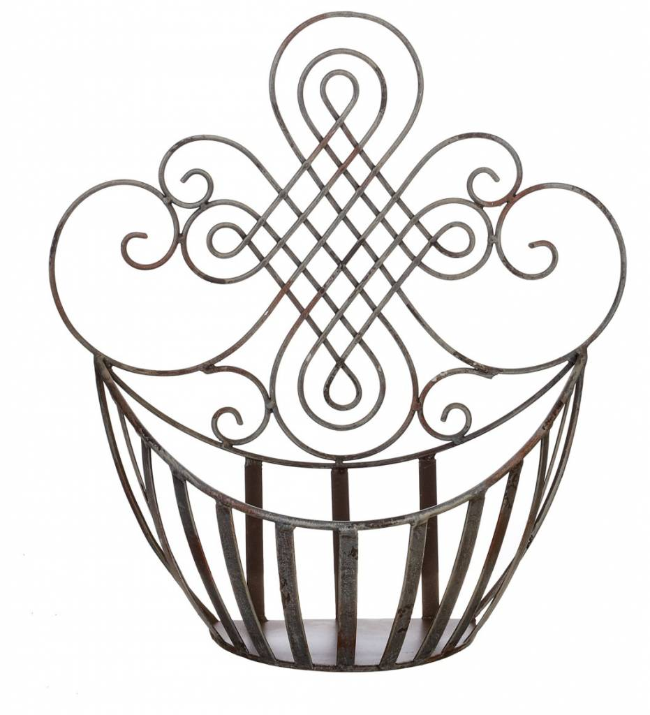 Distressed Gray Metal Wall Basket (2 Sizes)