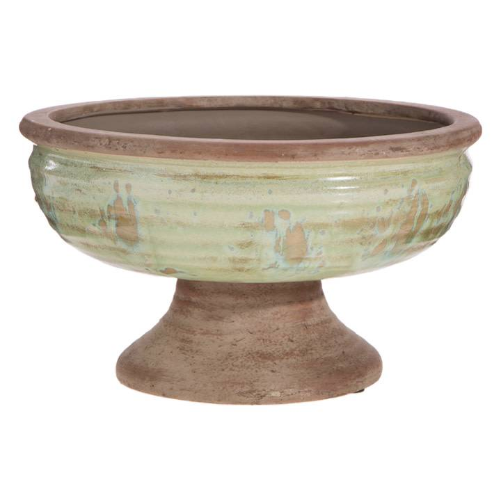 "10"" Distressed Pedestal Bowl"