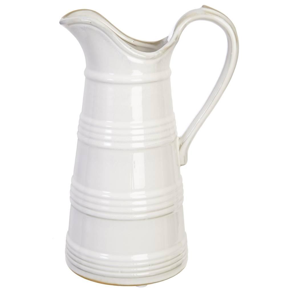 Banded White Ceramic Pitcher