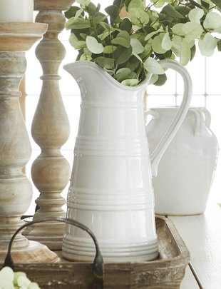 Banded White Ceramic Pitcher