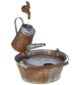 Galvanized Fantasy Watering Can Fountain