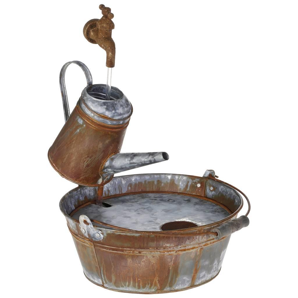 Galvanized Fantasy Watering Can Fountain
