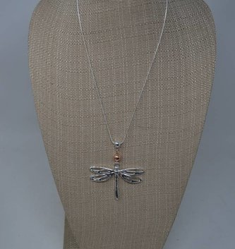 Dainty Metal Dragonfly  Necklace