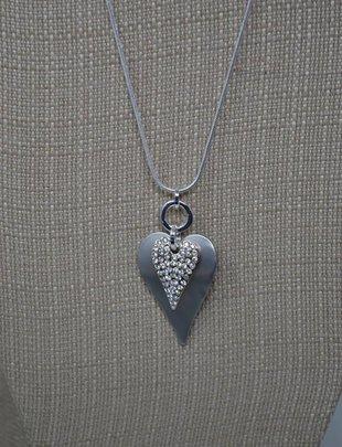 Double Heart Rhinestone Necklace